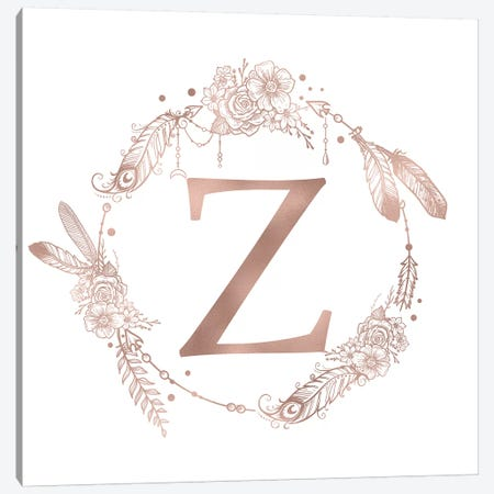 Rose Gold Monogram Letter Z Canvas Print #MGK138} by Nature Magick Canvas Artwork