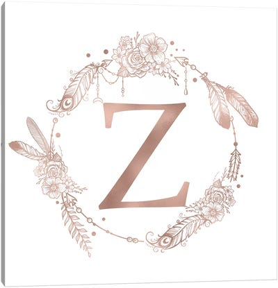 Rose Gold Monogram Letter Z Pink Boho Bohemian Feather Floral Personalized Alphabet Initial On White Canvas Art Print