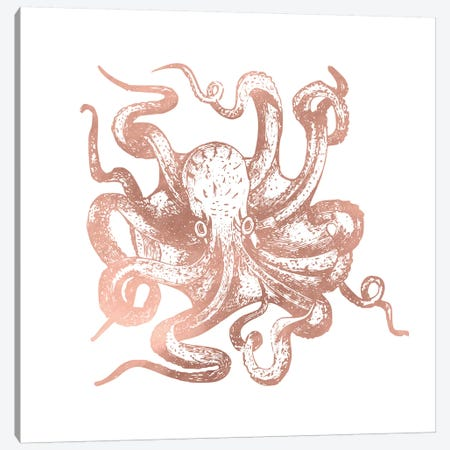 Rose Gold Octopus Canvas Print #MGK139} by Nature Magick Canvas Wall Art