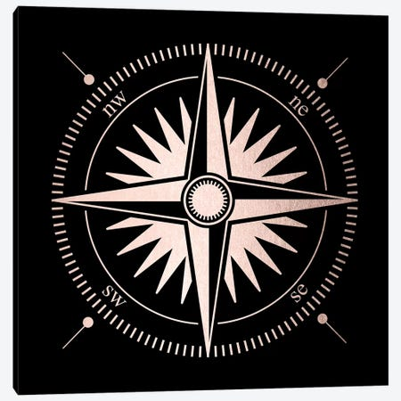 Rose Gold Pink Compass Canvas Print #MGK140} by Nature Magick Canvas Art Print