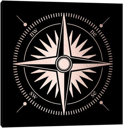 Rose Gold Pink Compass Canvas Art Print