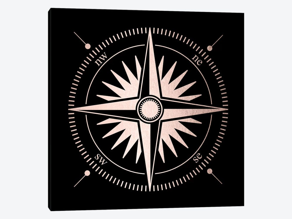 Rose Gold Pink Compass On Black Minimalist Adventure by Nature Magick 1-piece Canvas Print