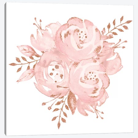Roses Rose Gold Glitter Flower Pink Watercolor Glittery Flowers On White Canvas Print #MGK141} by Nature Magick Canvas Art Print