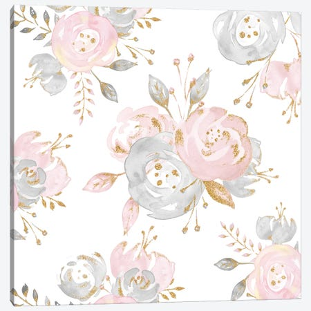 Roses Rose Gold Glitter Pink And Gray Fashion Flowers On White Floral Canvas Print #MGK143} by Nature Magick Canvas Print