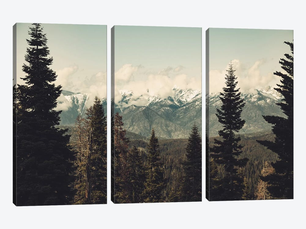 Snow Capped Sierra Mountains And Fir Trees In Sequoia National Park California 3-piece Canvas Art Print
