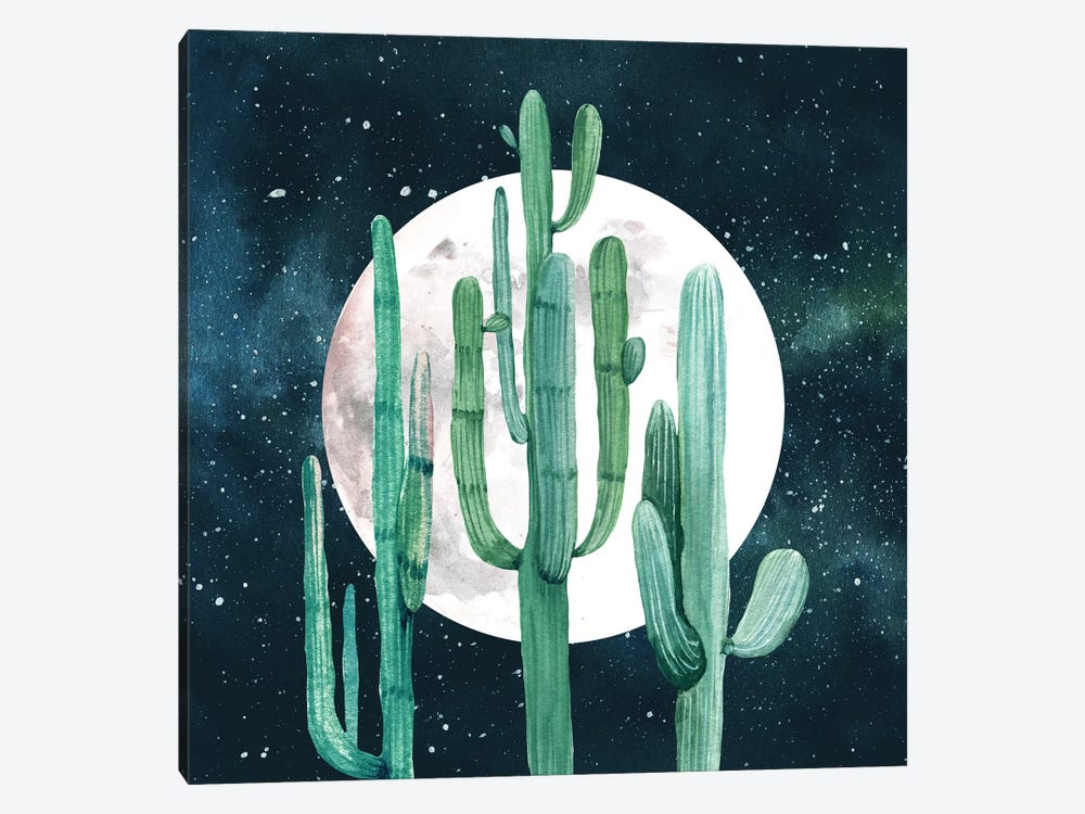 Southwestern Green Cactus Trio Navy Blue Night Sky With Moon Desert Nights Cacti I by Nature Magick 1-piece Canvas Artwork