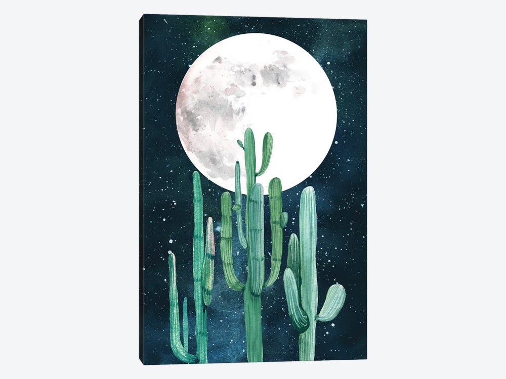 Southwestern Green Cactus Trio Navy Blue Night Sky With Moon Desert Nights Cacti II by Nature Magick 1-piece Art Print