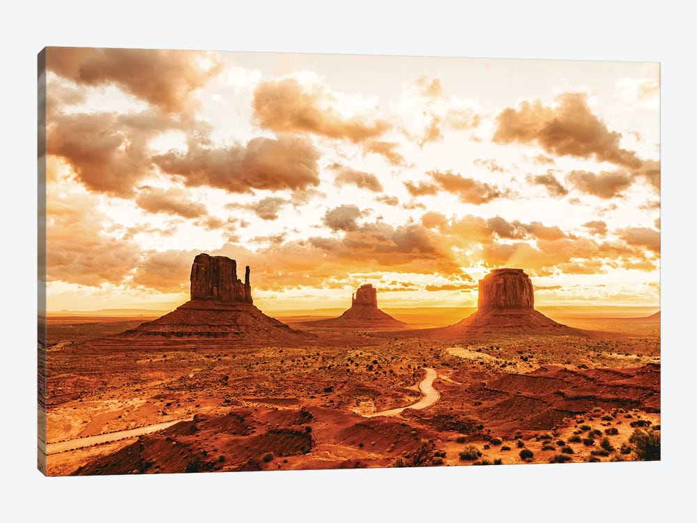 Southwestern Monument Valley Utah Copper Desert Cactus Sunrise Nature by Nature Magick 1-piece Canvas Wall Art