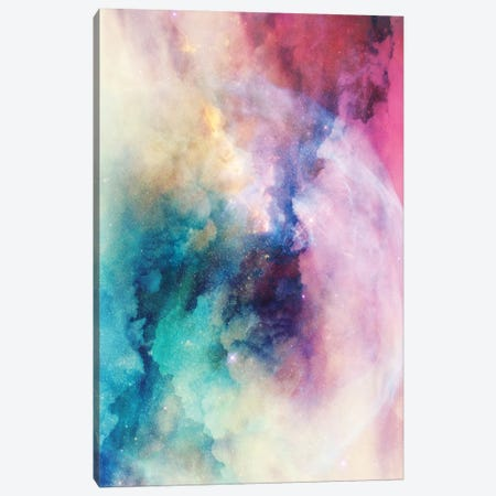 Star Child Nebula Space And Stars In Turquoise Blue Pink Yellow Pastel Ultraviolet Purple Abstract I Canvas Print #MGK150} by Nature Magick Canvas Wall Art