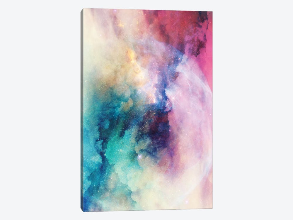 Star Child Nebula Space And Stars In Turquoise Blue Pink Yellow Pastel Ultraviolet Purple Abstract I by Nature Magick 1-piece Canvas Artwork