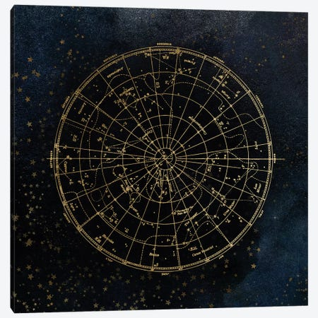 Star Map Night Sky Dark Navy Blue And Gold Metallic Vintage Retro I Canvas Print #MGK152} by Nature Magick Canvas Art