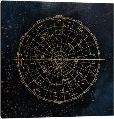 Star Map Night Sky Dark Navy Blue And Gold Metallic Vintage Retro I Canvas Art Print