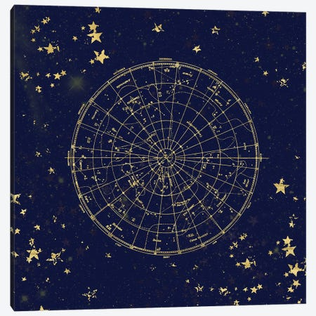 Star Map Night Sky Dark Navy Blue And Gold Metallic Vintage Retro II Canvas Print #MGK153} by Nature Magick Canvas Artwork