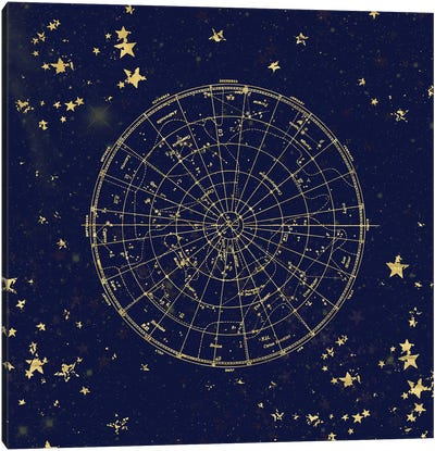 Star Map Night Sky Dark Navy Blue And Gold Metallic Vintage Retro II Canvas Art Print