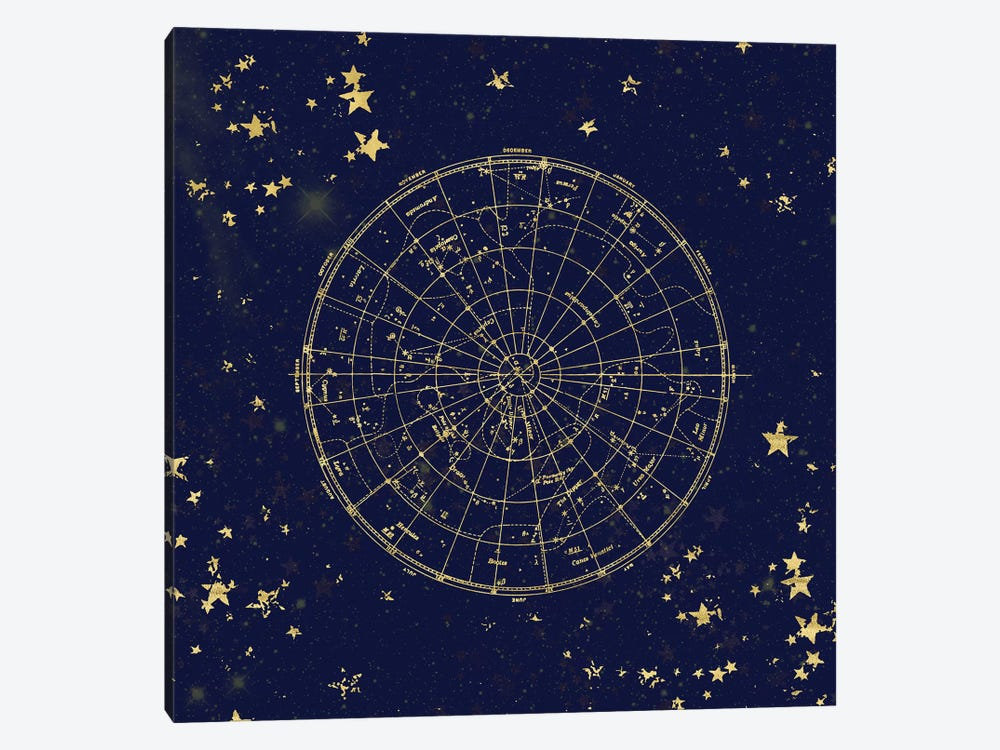Star Map Night Sky Dark Navy Blue And Gold Metallic Vintage Retro II by Nature Magick 1-piece Canvas Art Print
