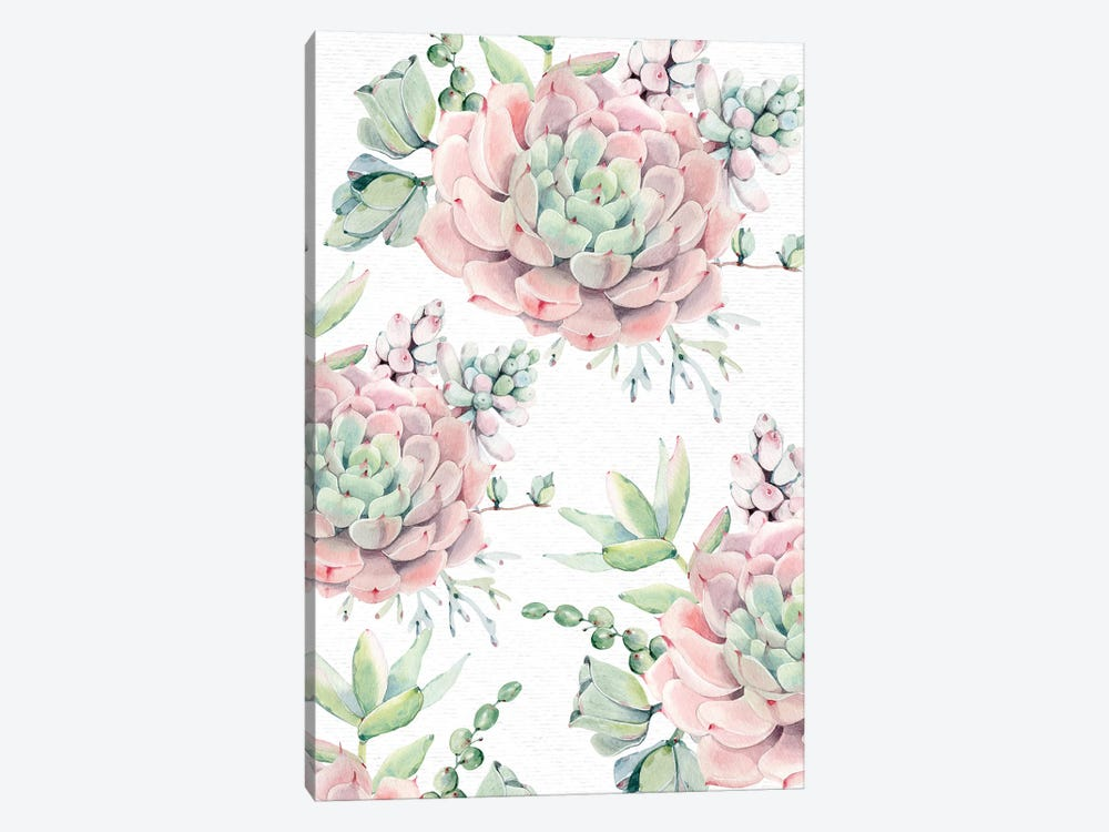 Succulents Southwestern Floral Pink And Green Succulent Flowers On Desert White by Nature Magick 1-piece Canvas Artwork
