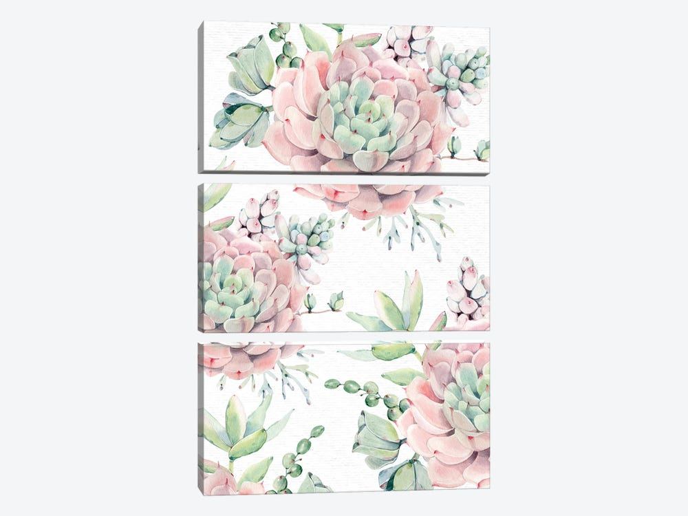 Succulents Southwestern Floral Pink And Green Succulent Flowers On Desert White by Nature Magick 3-piece Canvas Art