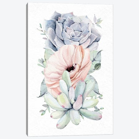 Succulents Southwestern Floral Mint Green II Canvas Print #MGK161} by Nature Magick Art Print