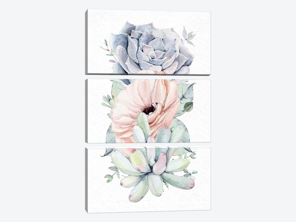 Succulents Southwestern Floral Mint Green II by Nature Magick 3-piece Canvas Art