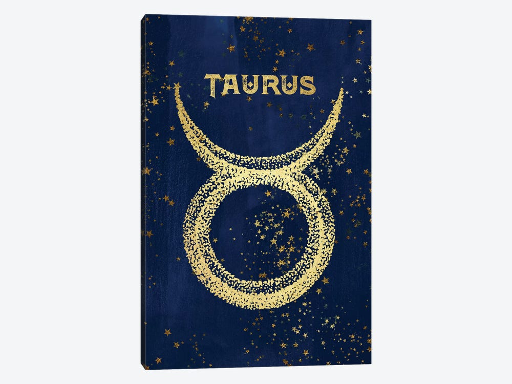 Taurus Zodiac Sign In Gold Copper Bronze On Navy Blue Night Sky With Astrological Stars by Nature Magick 1-piece Canvas Art Print