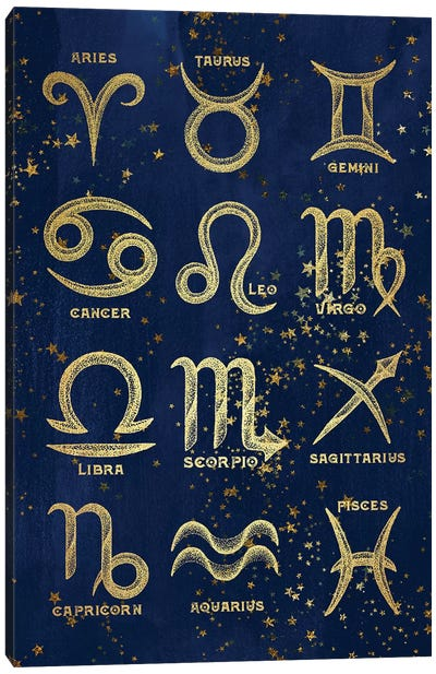 The 12 Zodiac Signs In Gold Copper Bronze On Navy Blue Night Sky With Astrological Stars Canvas Art Print