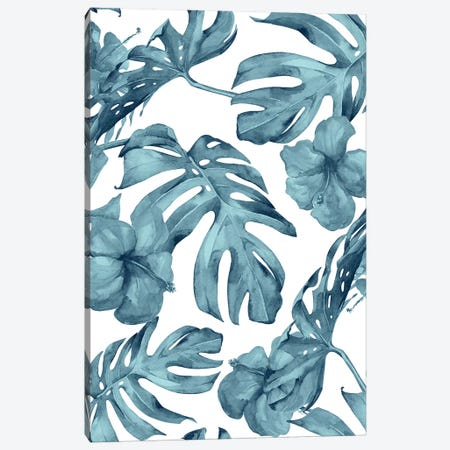 Tropical Palm Leaves And Hibiscus Flowers In Island Teal Ocean Blue Floral And White Canvas Print #MGK173} by Nature Magick Canvas Art