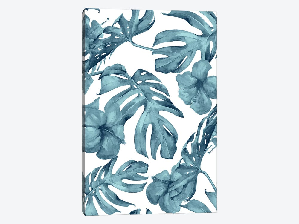 Tropical Palm Leaves And Hibiscus Flowers In Island Teal Ocean Blue Floral And White 1-piece Art Print