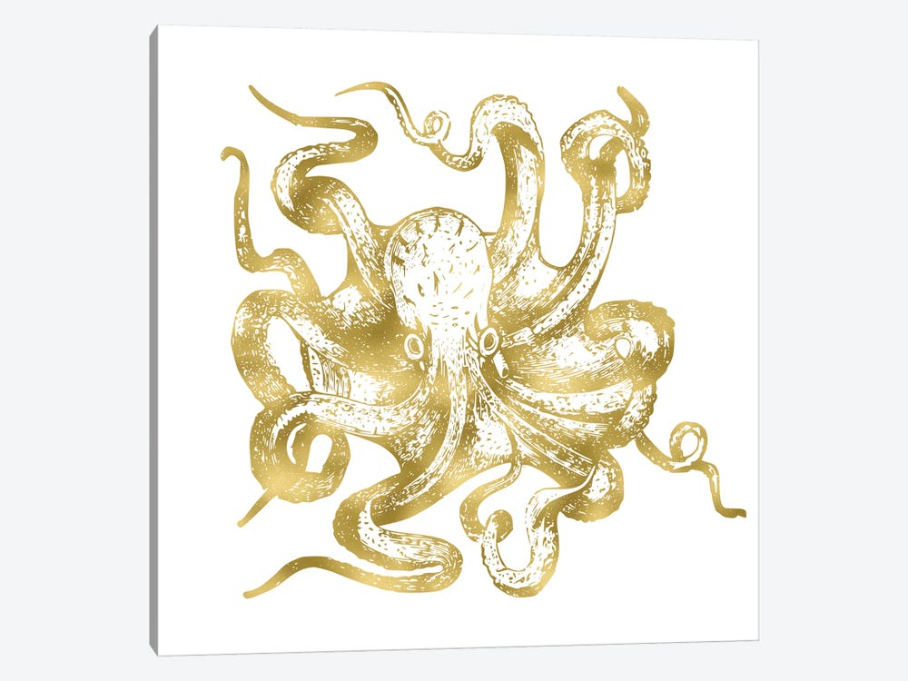 Vintage Gold Octopus Nautical Beach Sea Ocean Creature On White by Nature Magick 1-piece Art Print