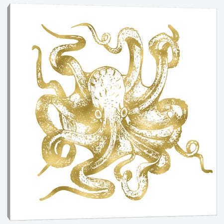 Vintage Gold Octopus 3-Piece Canvas #MGK175} by Nature Magick Canvas Print