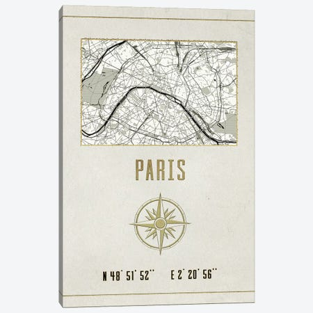 Vintage Paris City Map Canvas Print #MGK176} by Nature Magick Canvas Print
