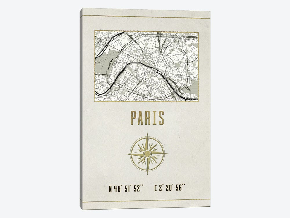 Vintage Paris City Map Streets In Gold Foil And Cream Beige Longitude Latitude Coordinates I by Nature Magick 1-piece Canvas Art