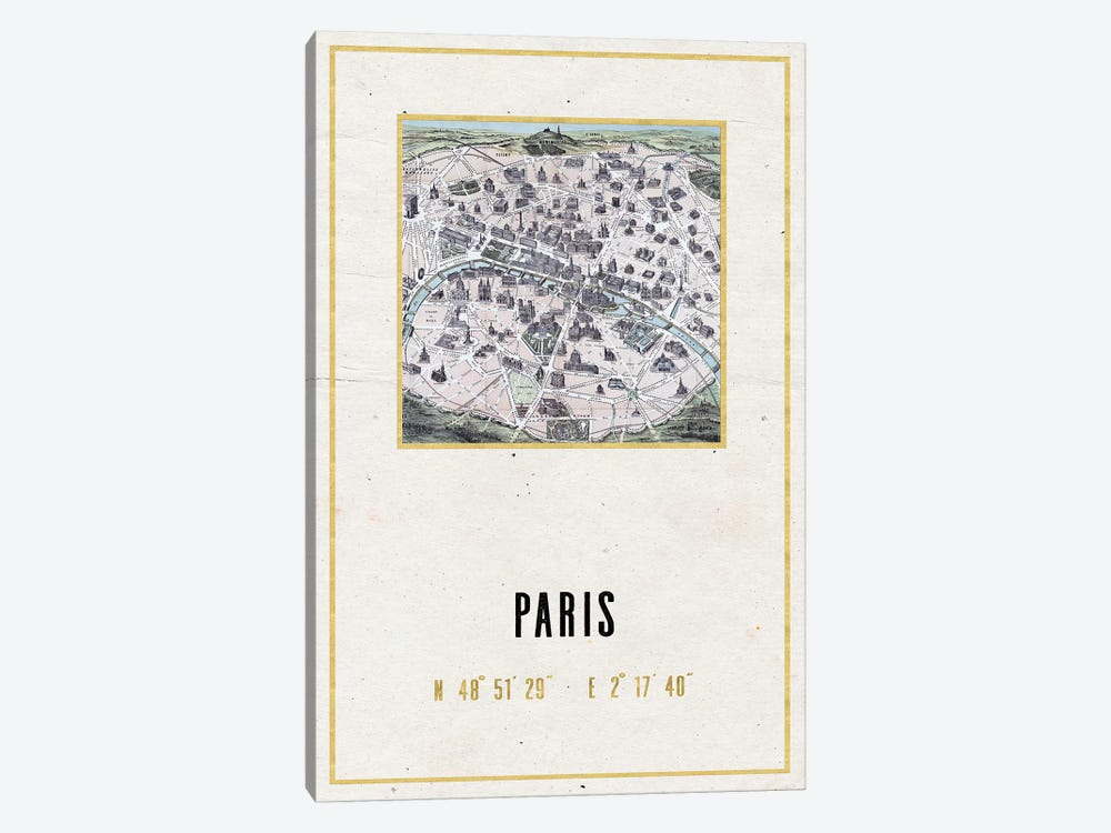 Vintage Paris City Map II by Nature Magick 1-piece Canvas Print