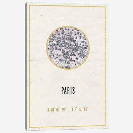 Vintage Paris City Map III Canvas Print #MGK178} by Nature Magick Canvas Art