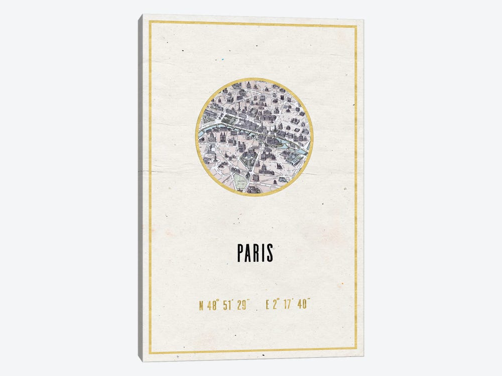 Vintage Paris City Map Streets In Gold Foil And Cream Beige Longitude Latitude Coordinates III by Nature Magick 1-piece Canvas Wall Art