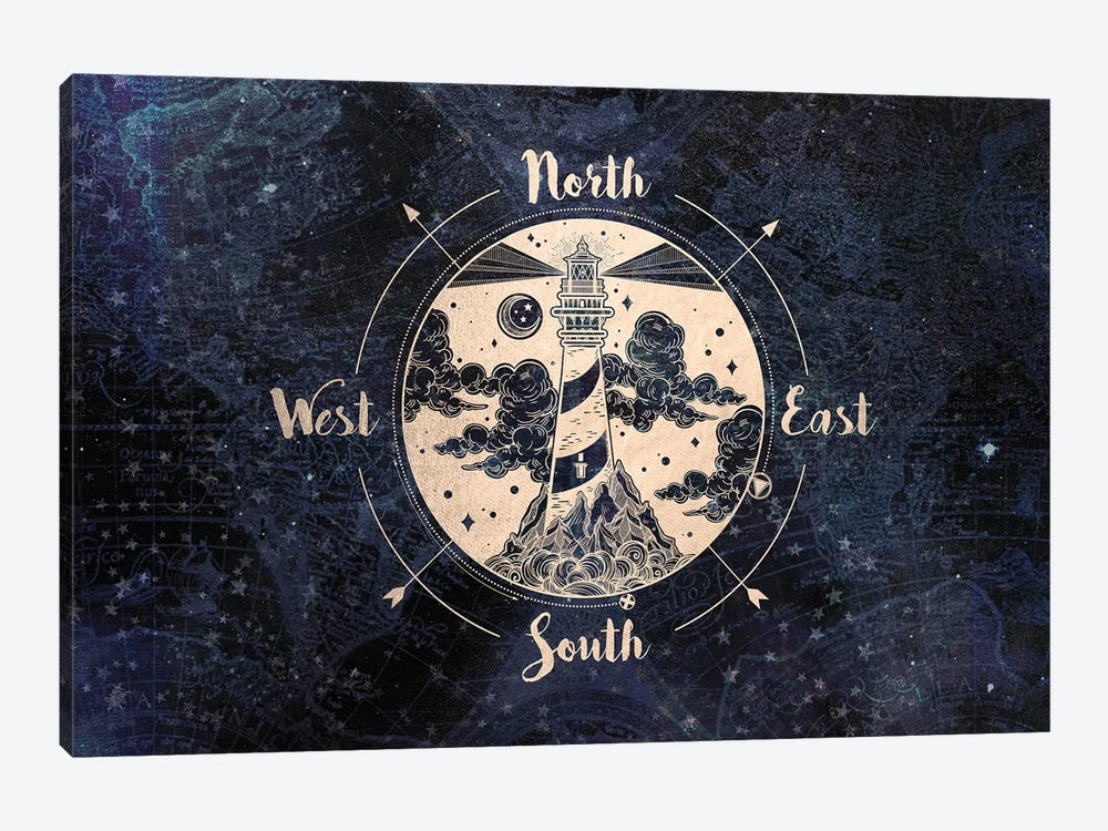 Vintage World Map Compass by Nature Magick 1-piece Canvas Art Print