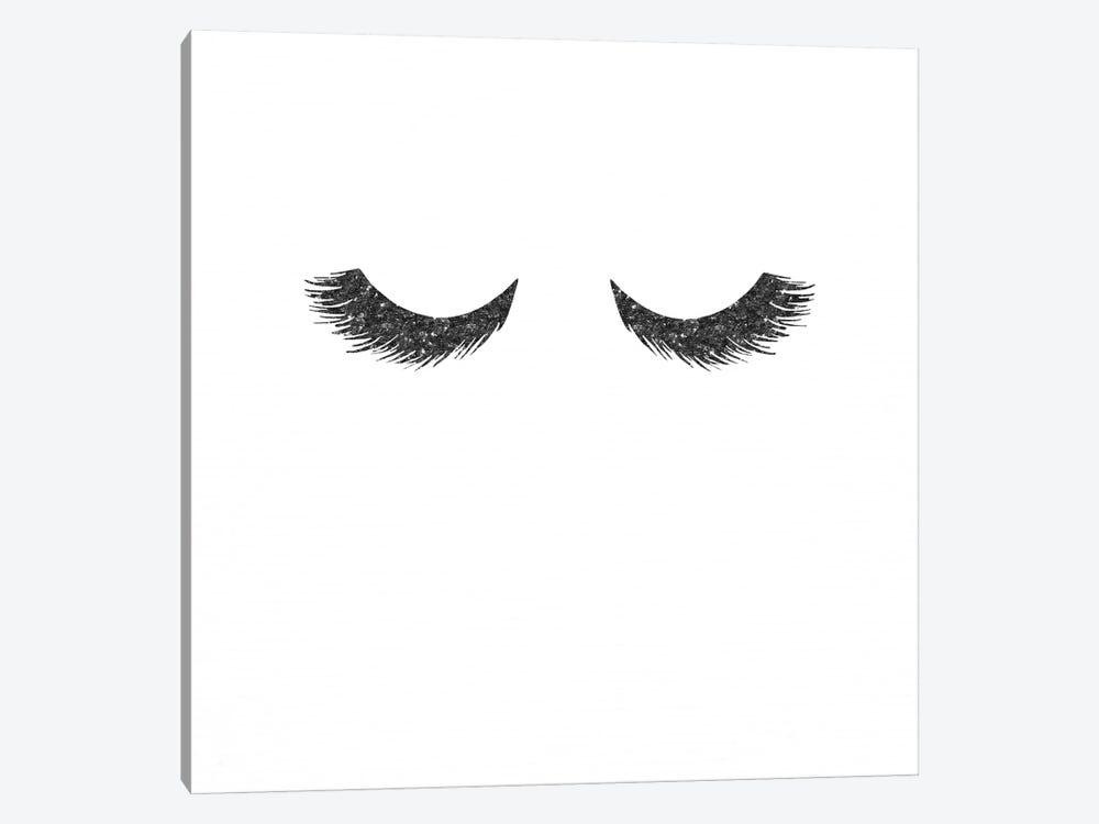 Black Lashes Glitter Mascara Eyelashes On White Minimalist Fashion by Nature Magick 1-piece Canvas Artwork