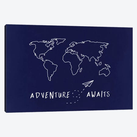 World Map Adventure Awaits Canvas Print #MGK186} by Nature Magick Canvas Art