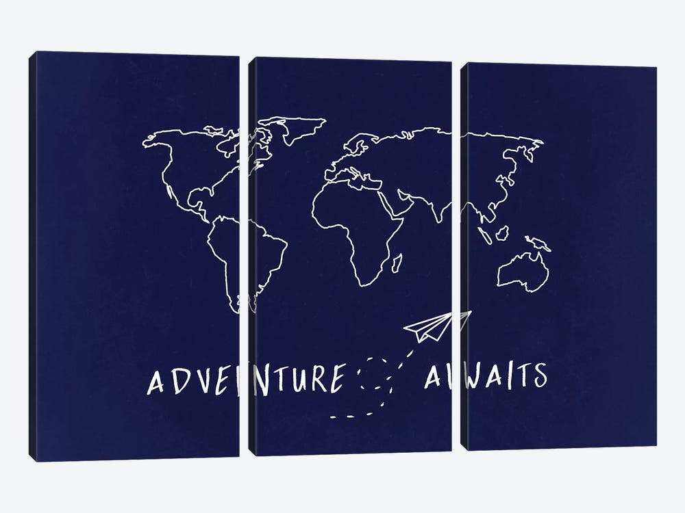 World Map Adventure Awaits by Nature Magick 3-piece Art Print