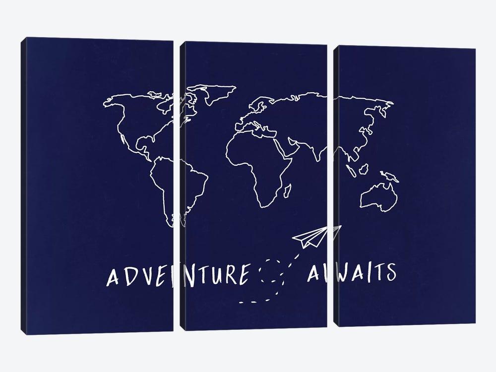 World Map Adventure Awaits by Nature Magick 3-piece Art Print