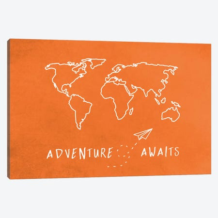 World Map Adventure Awaits II Canvas Print #MGK187} by Nature Magick Canvas Art