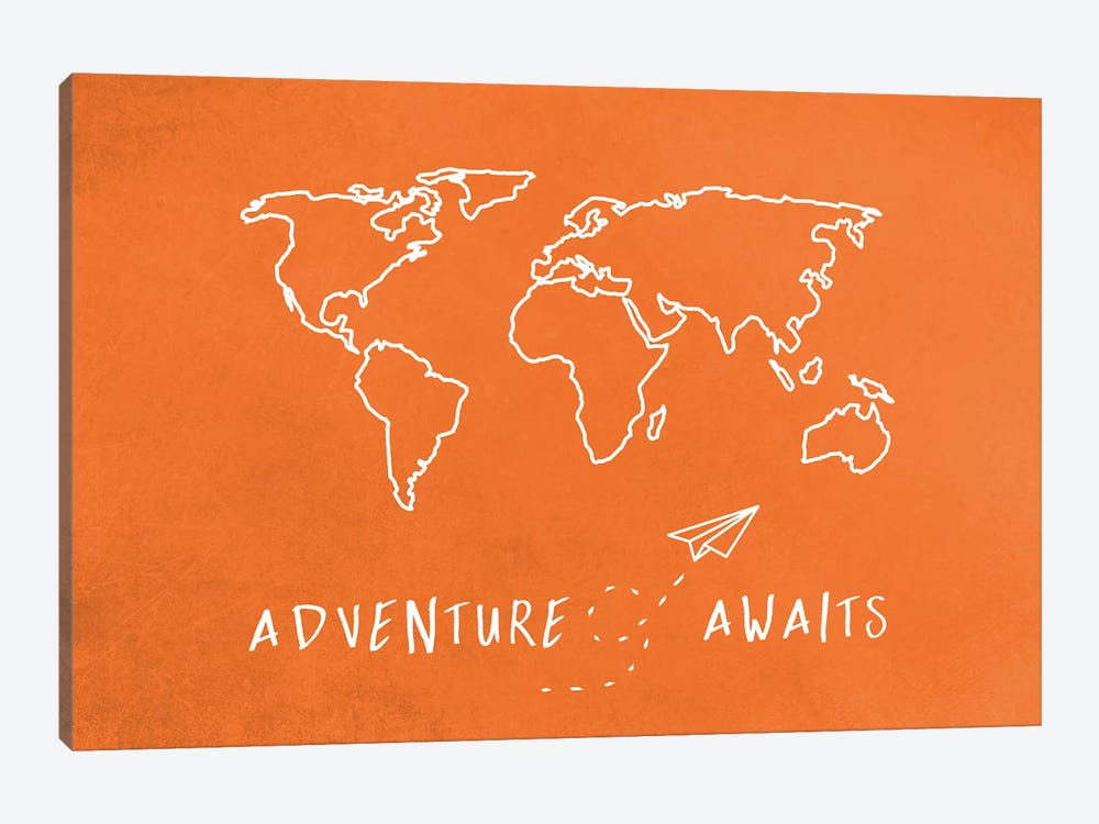 World Map Adventure Awaits Retro Orange And White Travel by Nature Magick 1-piece Canvas Wall Art