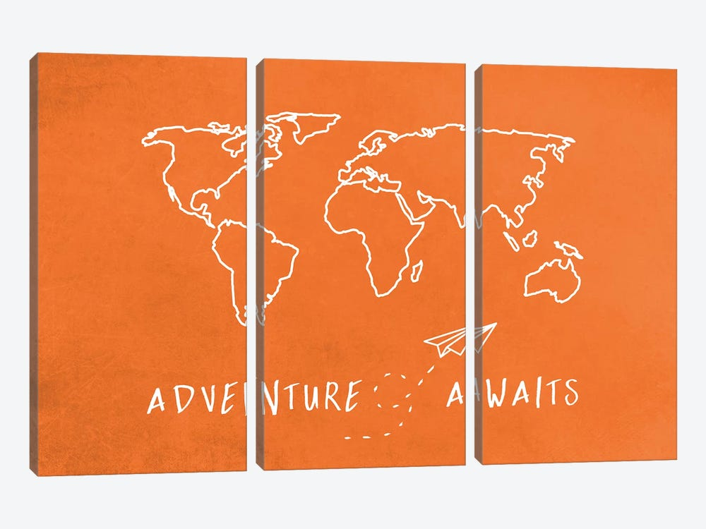 World Map Adventure Awaits Retro Orange And White Travel by Nature Magick 3-piece Canvas Wall Art