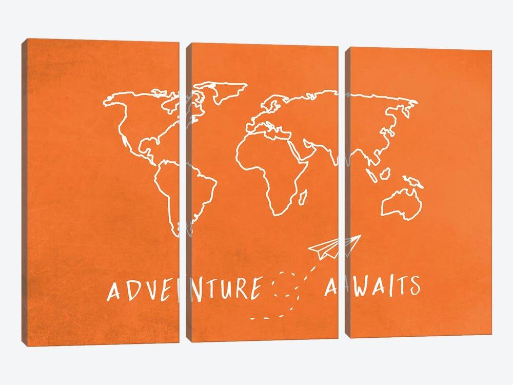 World Map Adventure Awaits II by Nature Magick 3-piece Canvas Wall Art