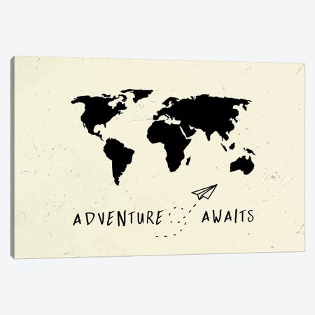 World Map Adventure Awaits Vintage Black On Beige Cream Ivory Travel Canvas Print #MGK188} by Nature Magick Canvas Art Print