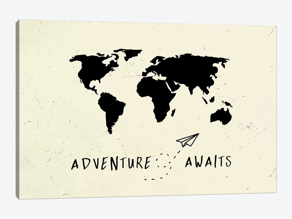 World Map Adventure Awaits Vintage Black On Beige Cream Ivory Travel by Nature Magick 1-piece Canvas Art Print