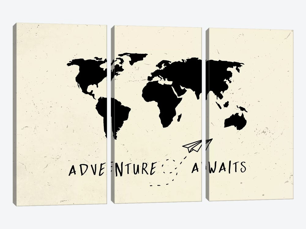 World Map Adventure Awaits Vintage Black On Beige Cream Ivory Travel by Nature Magick 3-piece Art Print