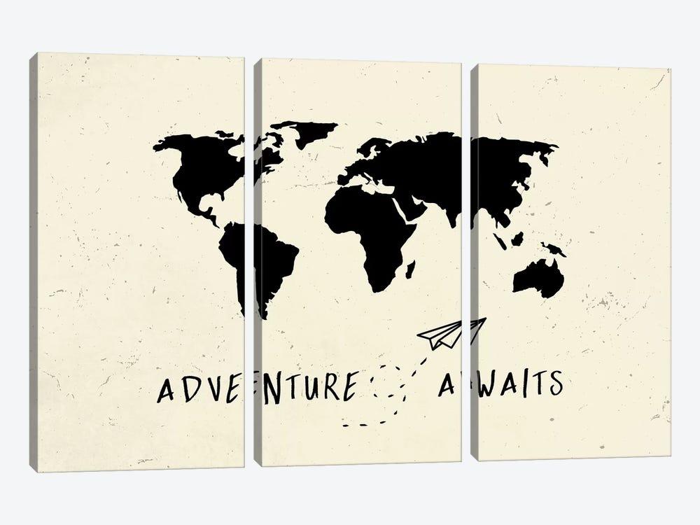 World Map Adventure Awaits III by Nature Magick 3-piece Art Print