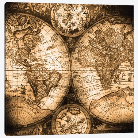 World Map Antique Canvas Print #MGK189} by Nature Magick Art Print