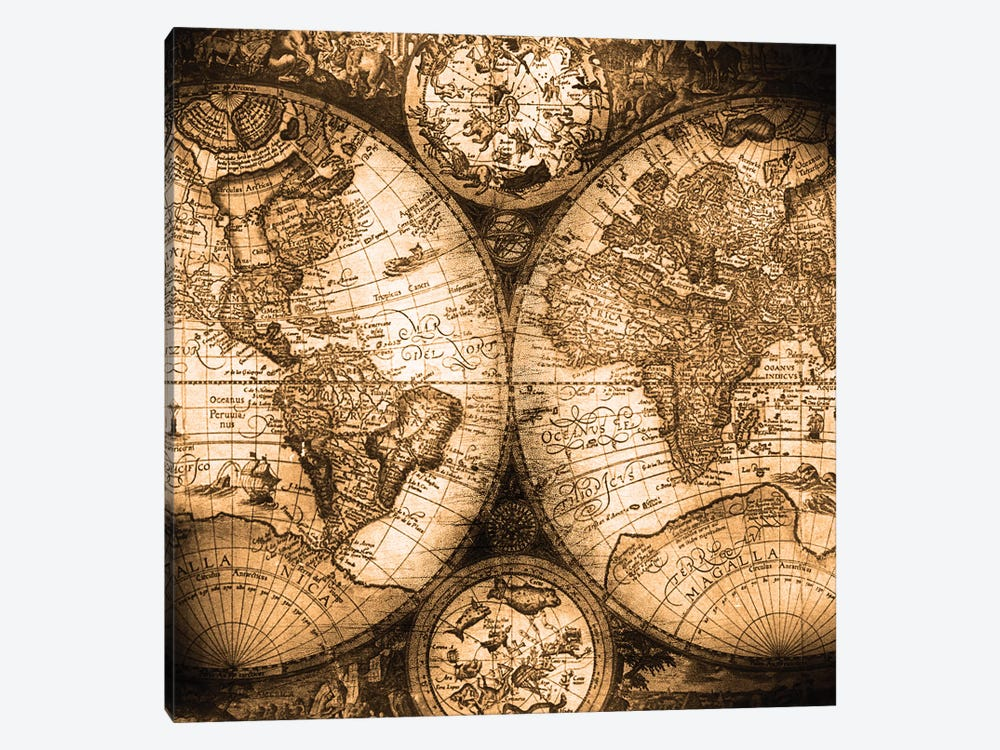 World Map Antique Beige Brown Cream Classic Vintage Globe Earth Map by Nature Magick 1-piece Canvas Wall Art
