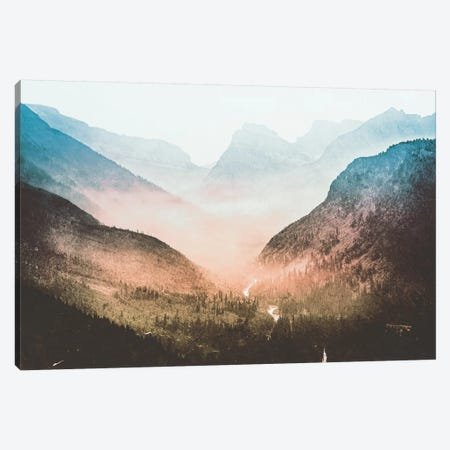 Blue Sunrise Mountain Adventure And Nature Retro Vintage Foggy Forest Dawn At Glacier National Park I Canvas Print #MGK18} by Nature Magick Canvas Print